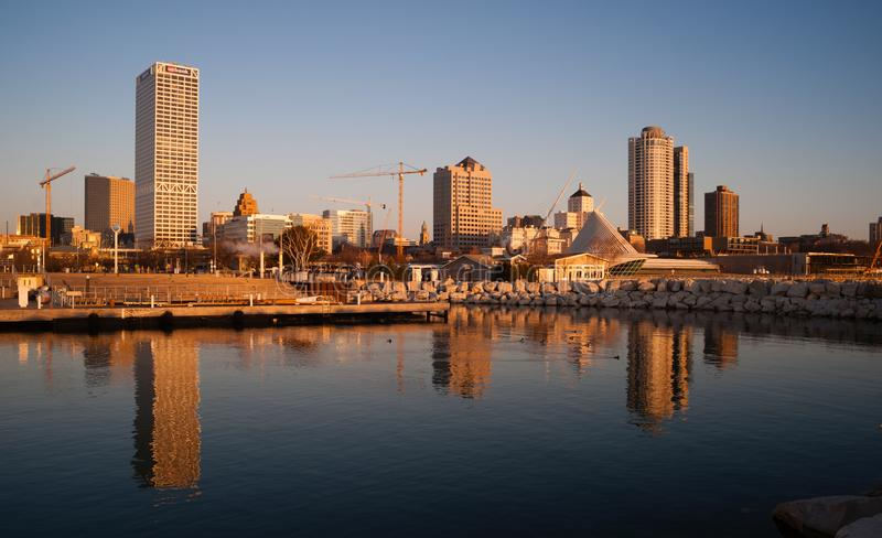 MILWAUKEE, WISCONSIN/UNITED STATES – APRIL 1: Most of the cities residents sleep as the sun comes up on the downtown waterfront stock photo