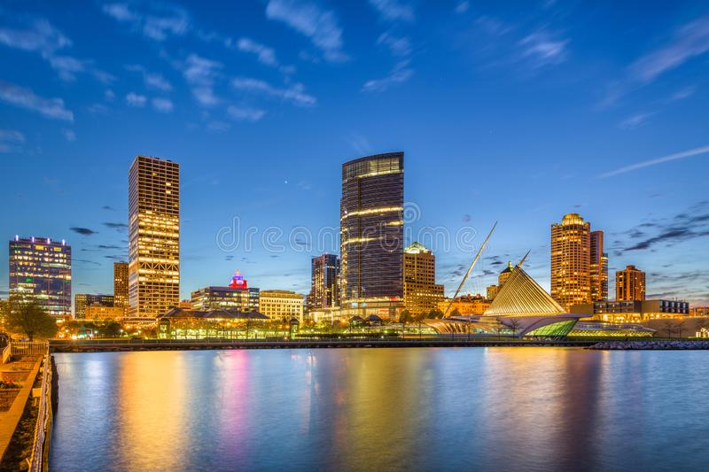 Milwaukee, Wisconsin, USA downtown city skyline on Lake Michigan. At twilight stock images