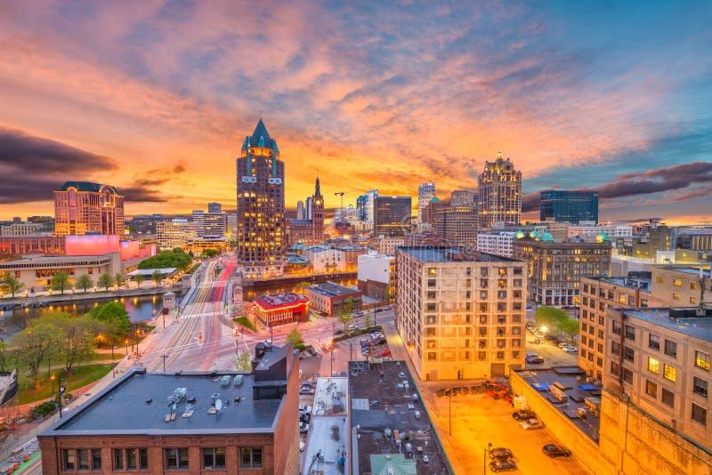 Milwaukee, Wisconsin Skyline. Milwaukee, Wisconsin, USA downtown skyline at dusk royalty free stock photography