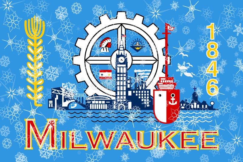 Milwaukee, Wisconsin zim płatek śniegu chorągwiany tło ameryki stany zjednoczone ilustracja wektor