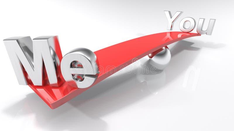 Mim e você em lados opostos de uma barra equilibrada - rendição 3D ilustração do vetor