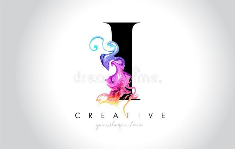 Mim Leter criativo vibrante Logo Design com tinta colorida Flo do fumo ilustração do vetor