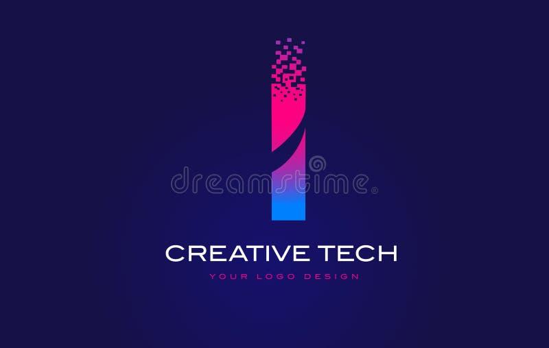 Mim letra inicial Logo Design com os pixéis de Digitas no roxo azul ilustração stock