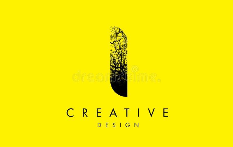 Mim ramos de árvore de Logo Letter Made From Black ilustração royalty free
