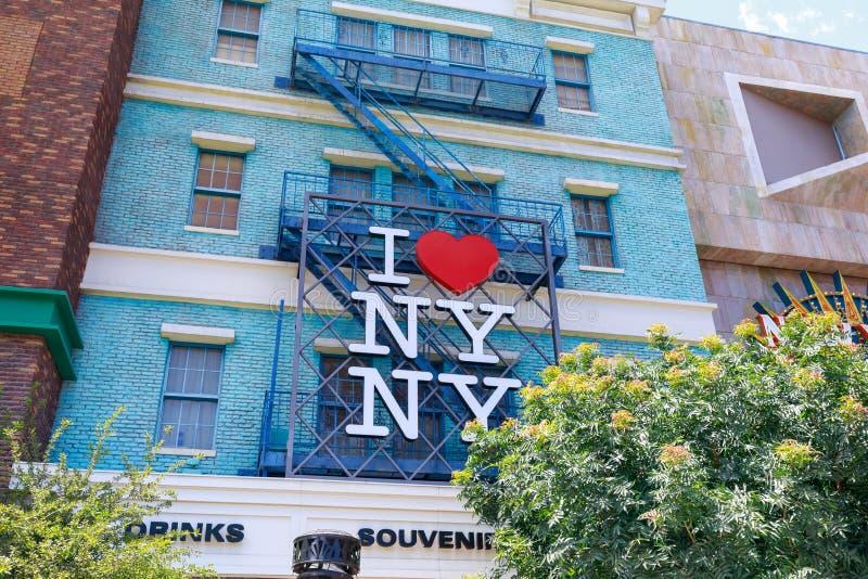 Mim sinal do coração NY, hotel York-novo novo de York e casino, tira no paraíso, Nevada de Las Vegas, Estados Unidos fotografia de stock royalty free