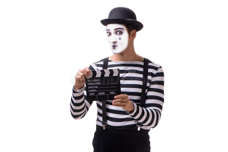 Mim z filmu clapperboard odizolowywającym na bielu obrazy stock