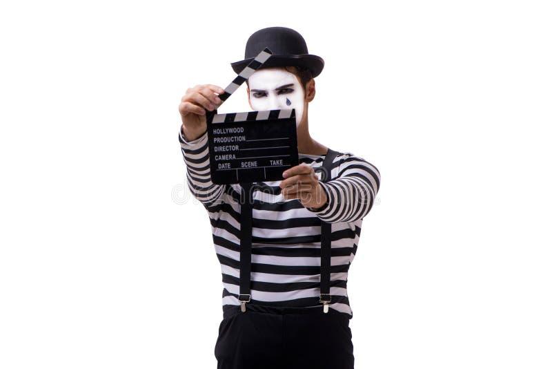 Mim z filmu clapperboard odizolowywającym na bielu fotografia royalty free