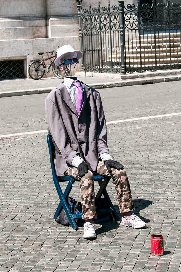 Mima mężczyzny piazza niewidzialny navona w Rzym, Włochy fotografia royalty free