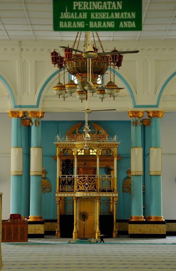 Mimbar av Sultan Ibrahim Jamek Mosque på Muar, Johor arkivbild