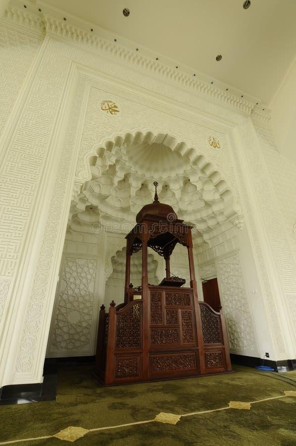 Mimbar av Sultan Ismail Airport Mosque - den Senai flygplatsen arkivbilder