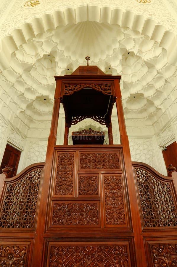 Mimbar av Sultan Ismail Airport Mosque - den Senai flygplatsen arkivbild