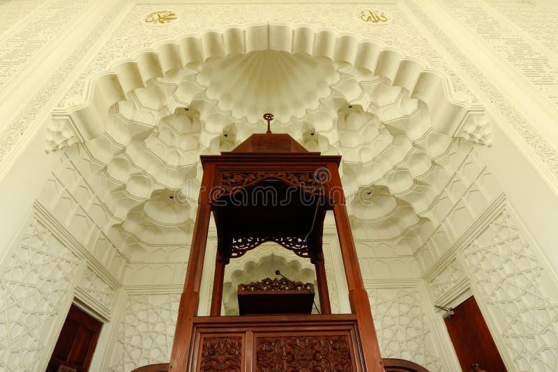 Mimbar de Sultan Ismail Airport Mosque - el aeropuerto de Senai imagenes de archivo