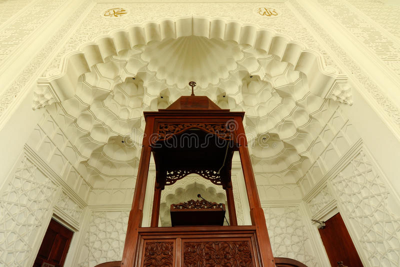 Mimbar di Sultan Ismail Airport Mosque - l'aeroporto di Senai immagini stock
