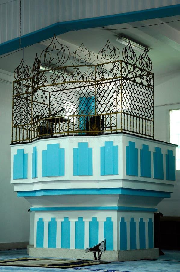 Mimbar of Masjid Jamek Dato Bentara Luar in Batu Pahat, Johor, Malaysia. BATU PAHAT, MALAYSIA – JANUARY, 2014: Masjid Jamek Dato Bentara Luar is a old royalty free stock images