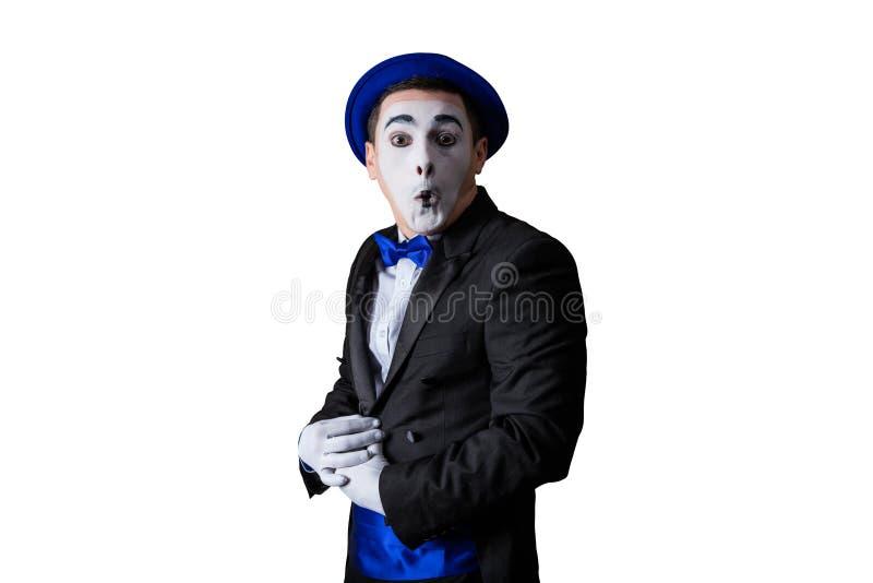 Mime που απομονώνεται στο άσπρο υπόβαθρο στοκ φωτογραφία