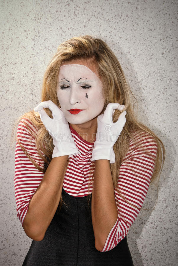 Mime. Dramatic mime actor . woman portrait royalty free stock photos