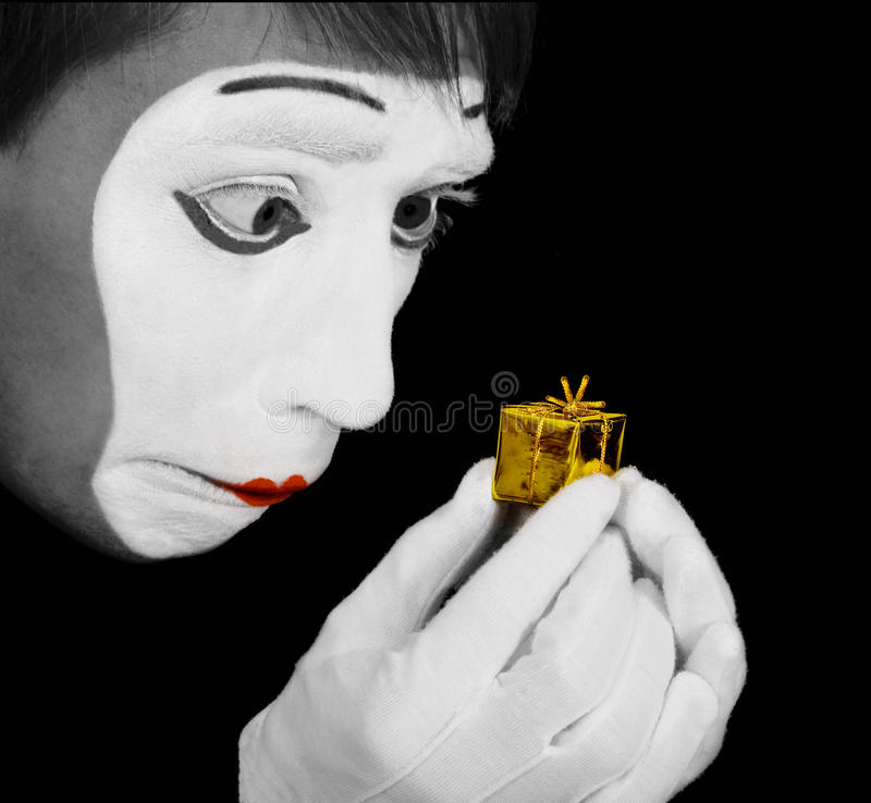 Mime. Is upset of too little gift stock image