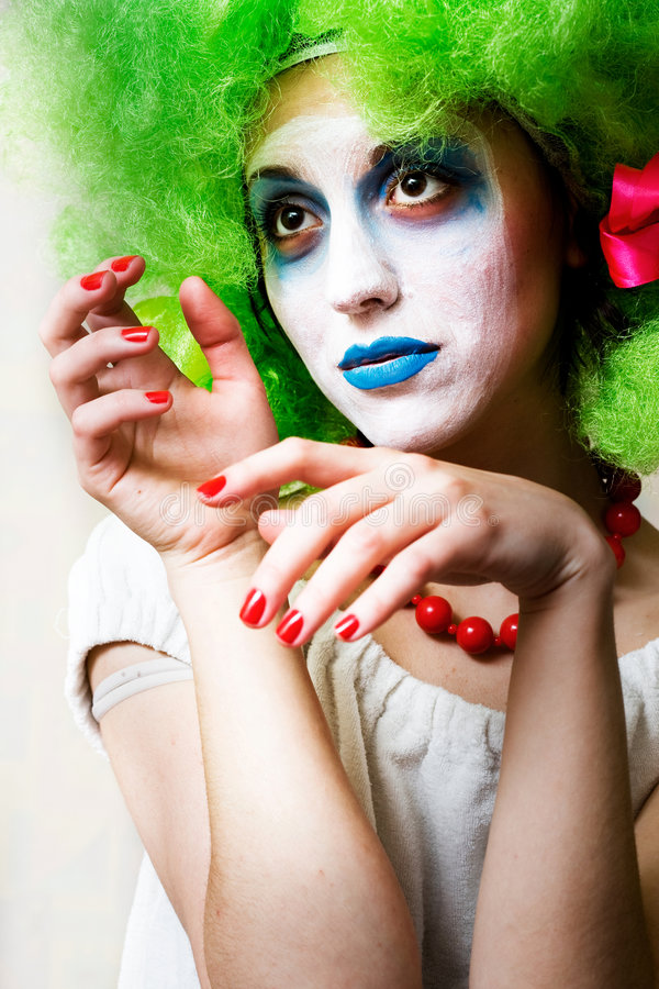 Mime. Sad female mime in heavy make-up royalty free stock photography
