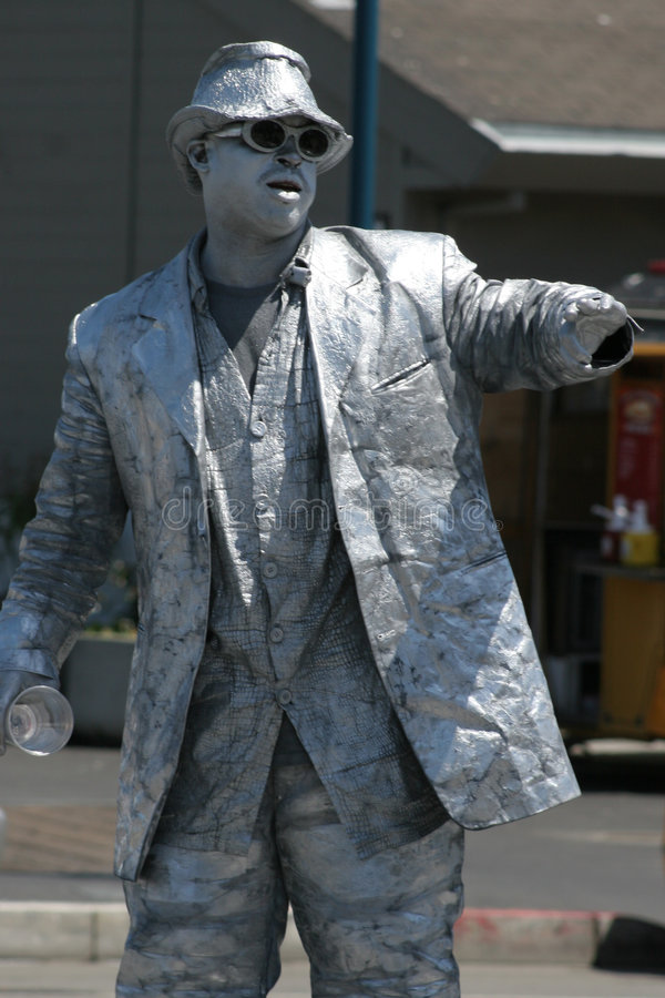 Mime. Silver mime in San Francisco stock image