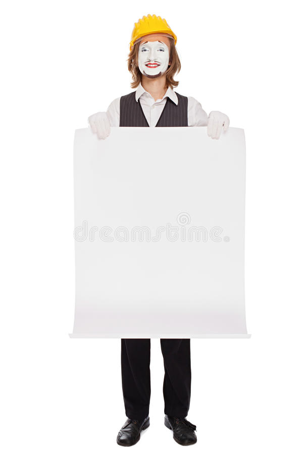 Mime actor plays a builder stock photo