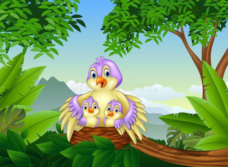 Mime al pájaro con sus dos bebés en la jerarquía libre illustration