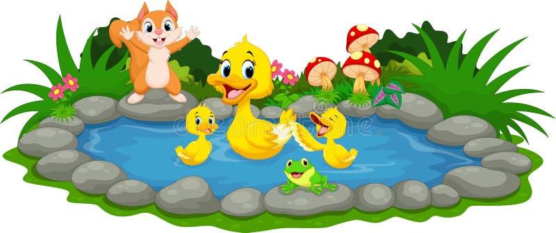 Mime al pato y a los pequeños anadones que nadan en la charca ilustración del vector