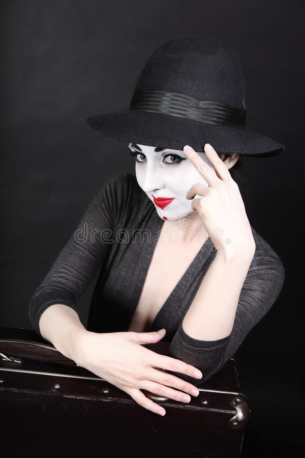 Mime artist with theatrical makeup stock photo