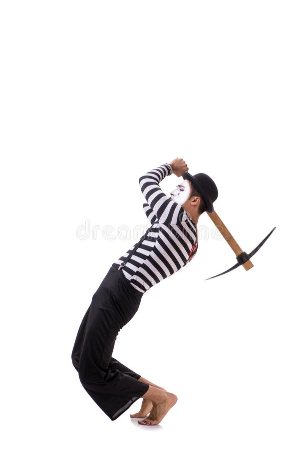 The mime with axe isolated on white background. Mime with axe isolated on white background stock photo
