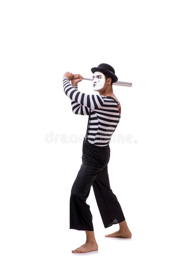 The mime with baseball bat isolated on white. Mime with baseball bat isolated on white royalty free stock images