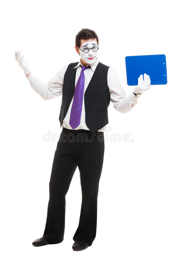 Mime Businessman With Clipboard Royalty Free Stock Photos