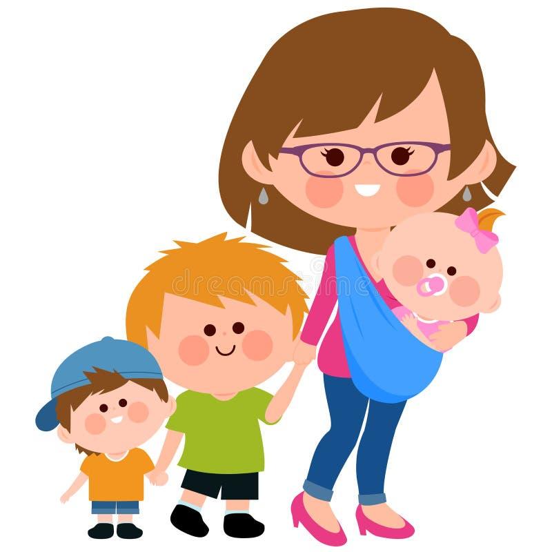 Mime a caminar con sus niños y su bebé en una honda libre illustration