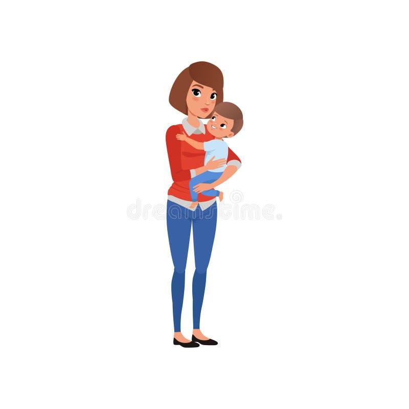 Mime a celebrar su niño en las manos y a abarcamiento, la mamá feliz y su ejemplo del vector del hijo libre illustration