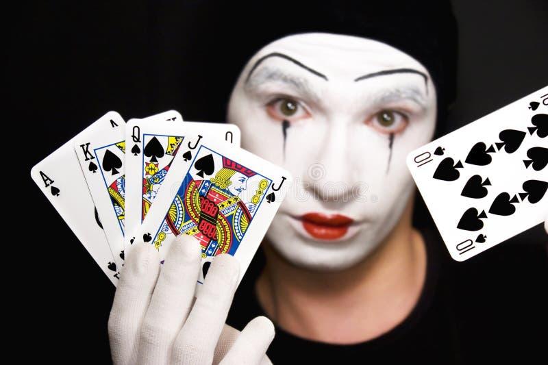Download Mime Com Os Cartões De Jogo No Fundo Preto Foto de Stock - Imagem de rainha, preto: 10051524