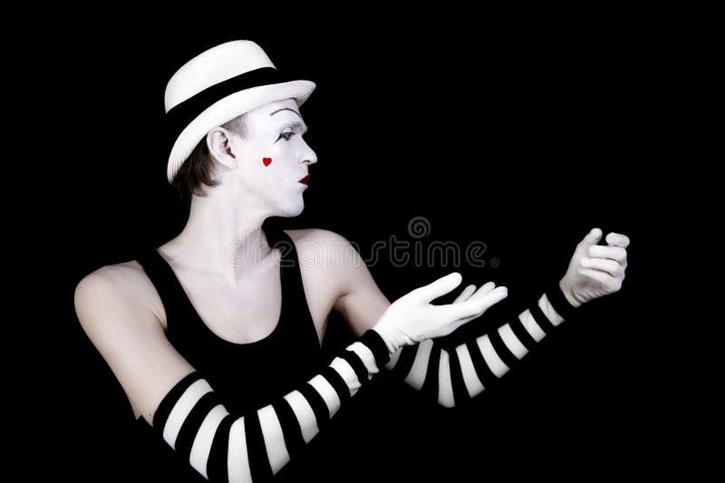 Mime da dança no chapéu branco fotos de stock