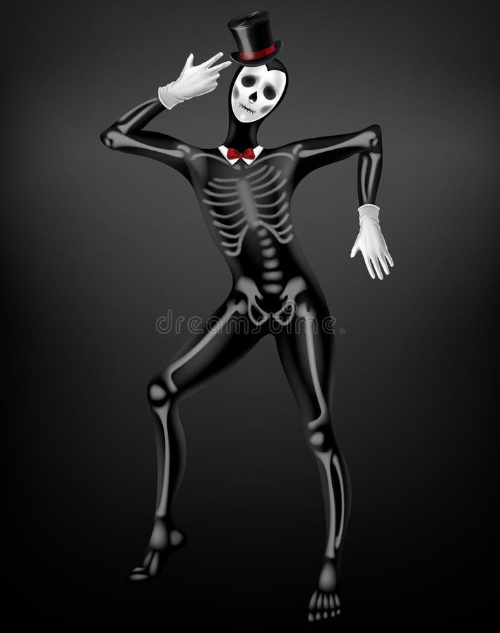 Human skeleton halloween costume realistic vector royalty free illustration