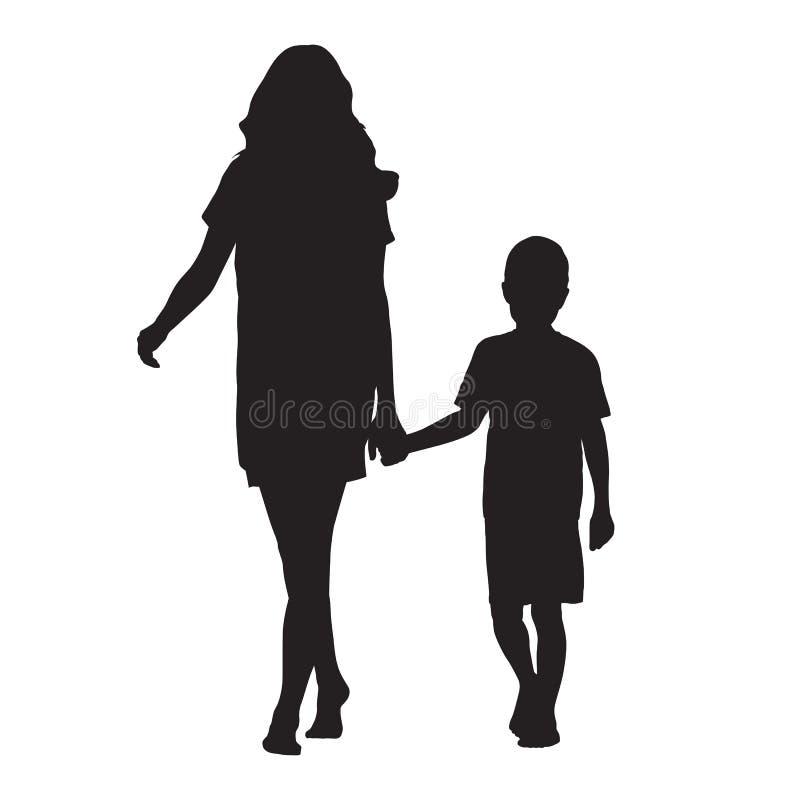 Mime a detener a su hijo a mano y a ir adelante, vecto aislado libre illustration