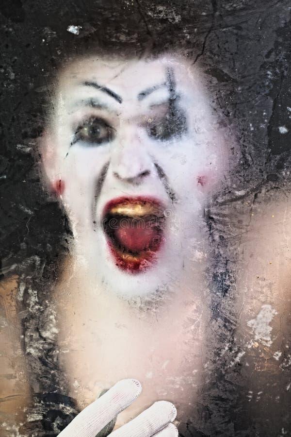 Mime di grido del fronte spaventoso immagini stock libere da diritti