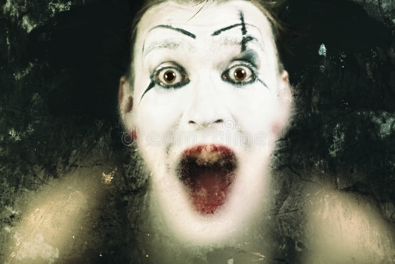 Mime di grido del fronte spaventoso fotografia stock