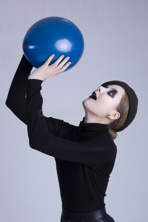 Mime girl with a balloon royalty free stock photography