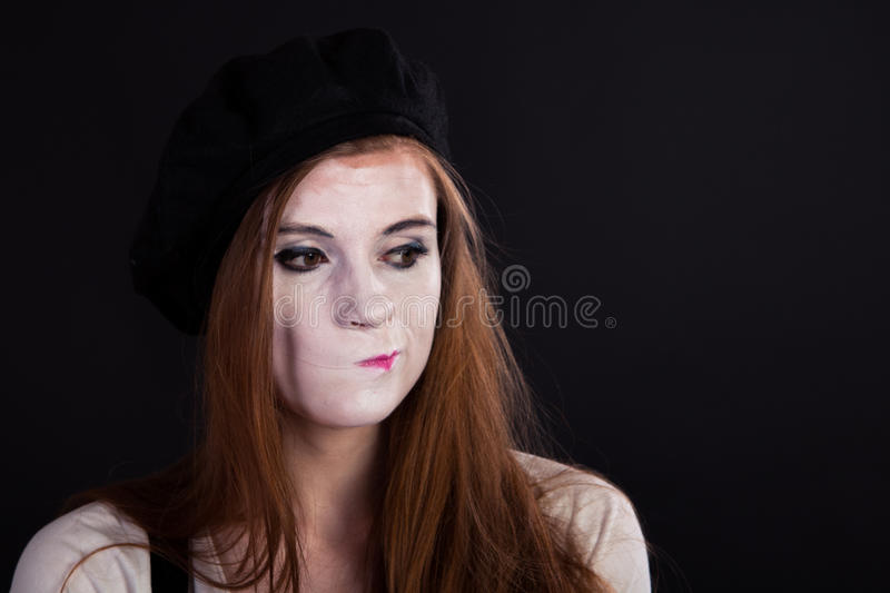 Mime Girl Displeased stock image