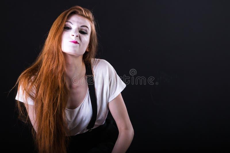 Mime Girl Smirking stock photos