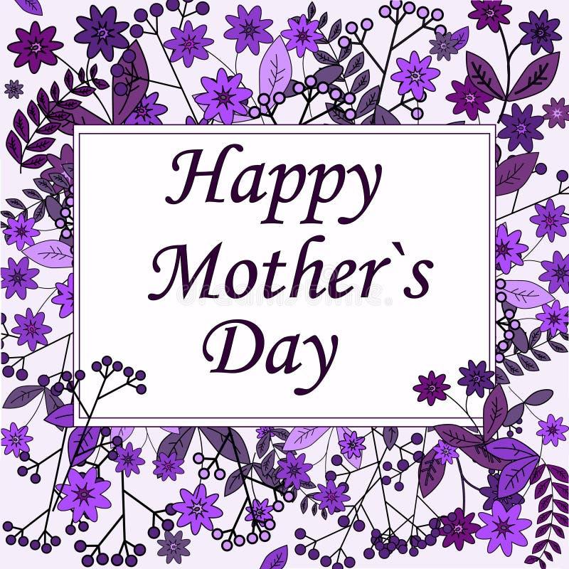 Mime a la tarjeta de felicitación del día del ` s con el fondo de las flores ilustración del vector