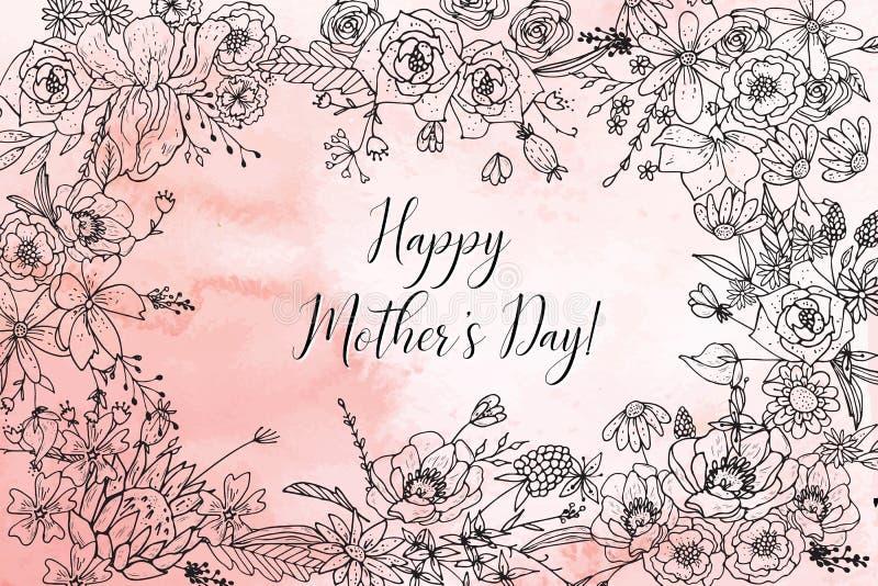 Mime a la tarjeta de felicitación del día del ` s con las flores hermosas del flor stock de ilustración