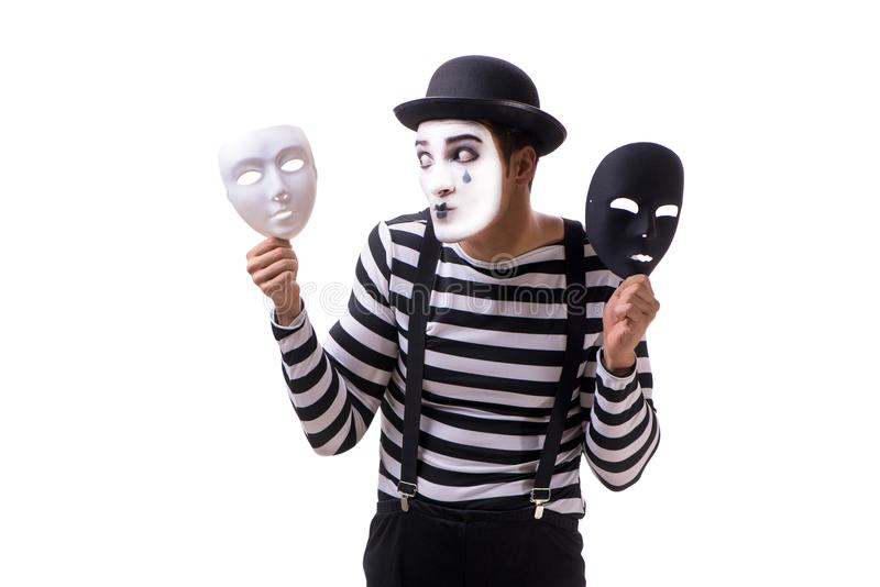 The mime with masks isolated on white background royalty free stock photo