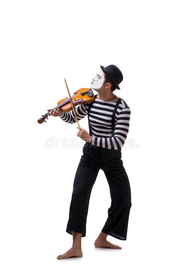 The mime playing violin isolated on white stock image