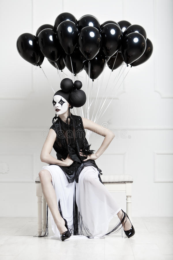 Mime stylized photo of a young beautiful woman stock images
