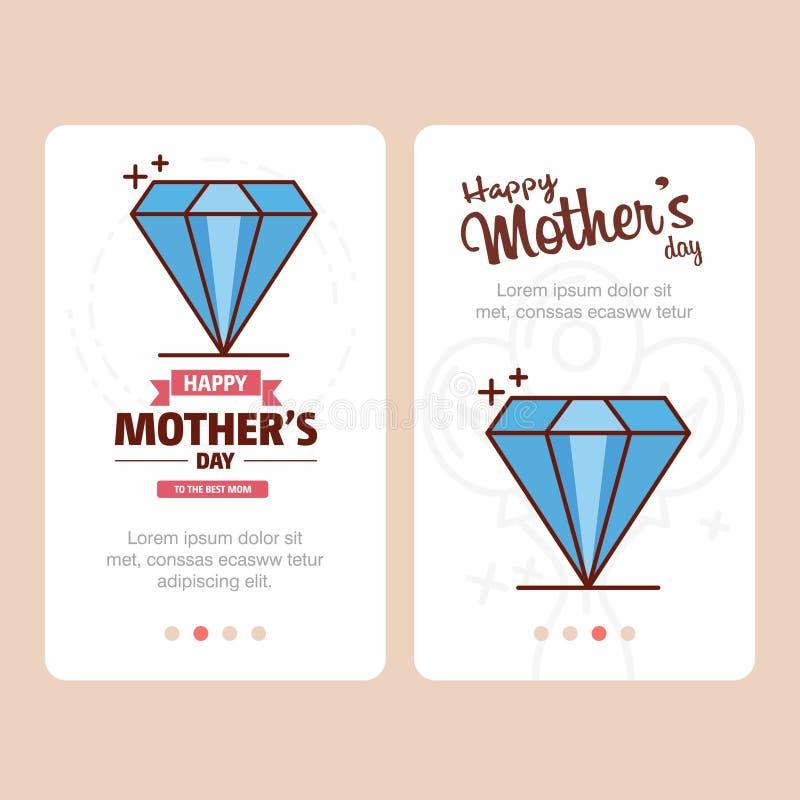 Mime \ 'tarjeta del día de s con el logotipo del diamante y el vector rosado del tema ilustración del vector