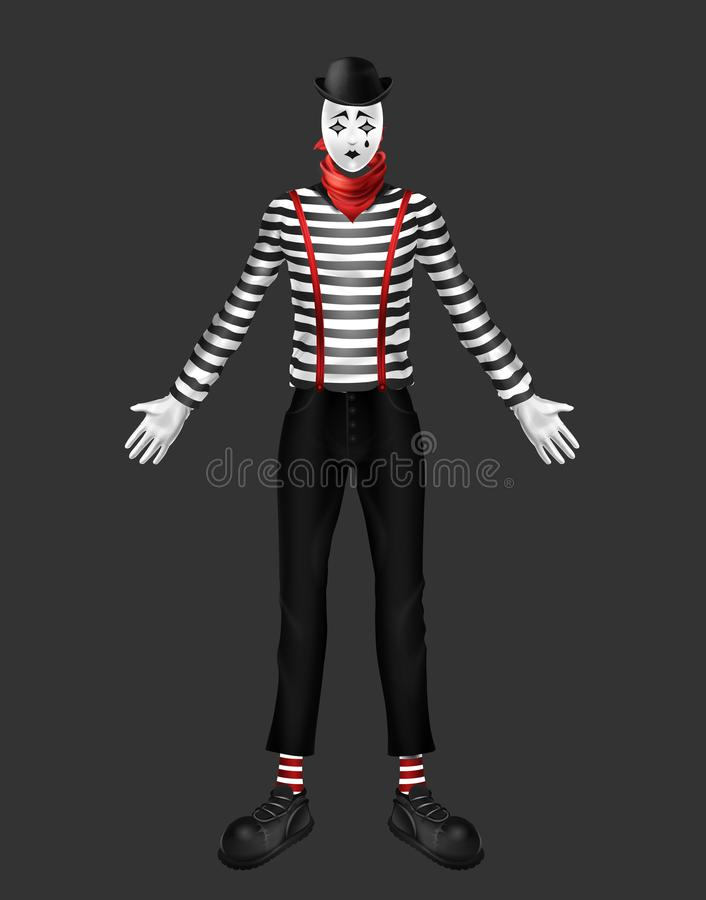 Sad mime costume 3d realistic vector illustration royalty free illustration