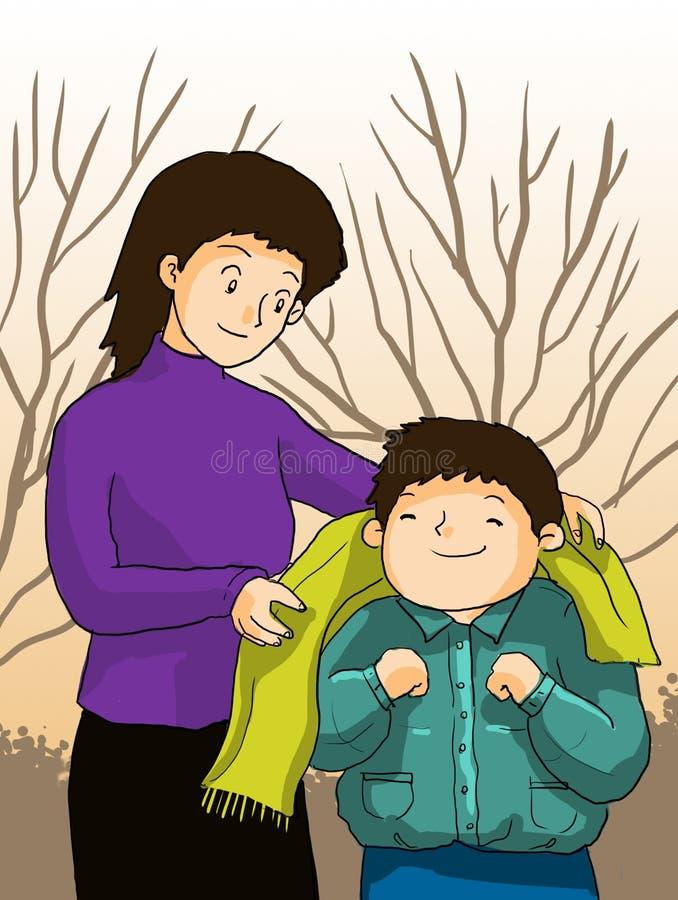 Mime toman niños, el niño y a la mamá del cuidado stock de ilustración