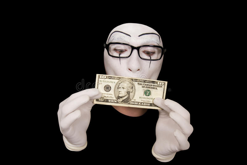 Download Mime In White Gloves  With 10 Dollar Denomination Stock Photo - Image: 11568778